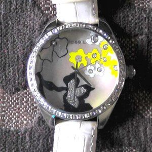 Fossil ES1958 Sparkly Black Yellow Floral Watch